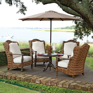 Patio furniture on Brick instead of Lawn. Helping California's drought.