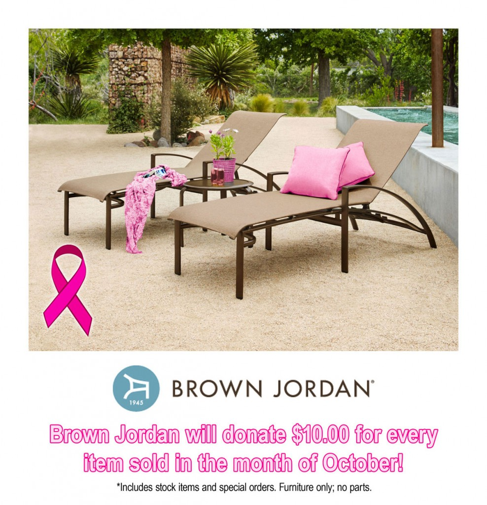 Brown Jordan will generously donate $10 for every furniture item sold  through Patioworld in the month - Patioworld Goes Pink For Breast Cancer Awareness Month