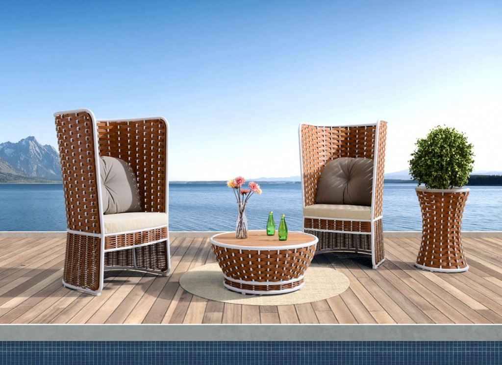 ON SALE NOW: High-back lounge chairs featuring aluminum frames, thick woven rattan, and outdoor polyester fabric.
