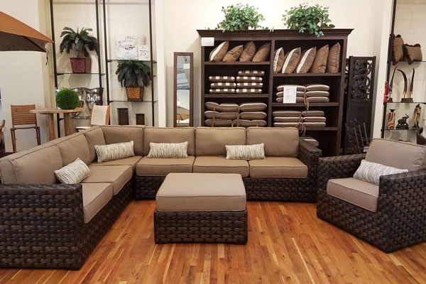 Brown woven wicker sectional.