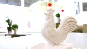 home decor - white ceramic rooster statuette